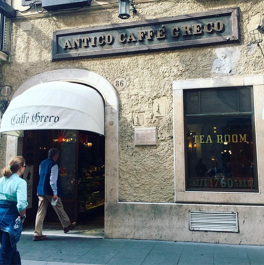 Antico Caffé Greco, uno de los cafés de moda en Roma